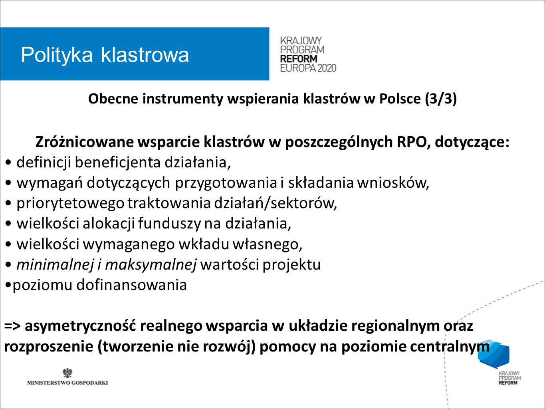 wstęp 01 Polityka klastrowa Obecne instrumenty wspierania klastrów w Polsce (3/3) Zróżnicowane wsparcie klastrów w poszczególnych RPO, dotyczące: definicji beneficjenta działania, wymagań dotyczących przygotowania i składania wniosków, priorytetowego traktowania działań/sektorów, wielkości alokacji funduszy na działania, wielkości wymaganego wkładu własnego, minimalnej i maksymalnej wartości projektu poziomu dofinansowania => asymetryczność realnego wsparcia w układzie regionalnym oraz rozproszenie (tworzenie nie rozwój) pomocy na poziomie centralnym