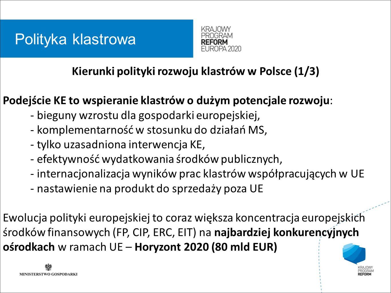 wstęp 01 Polityka klastrowa Kierunki polityki rozwoju klastrów w Polsce (1/3) Podejście KE to wspieranie klastrów o dużym potencjale rozwoju: - bieguny wzrostu dla gospodarki europejskiej, - komplementarność w stosunku do działań MS, - tylko uzasadniona interwencja KE, - efektywność wydatkowania środków publicznych, - internacjonalizacja wyników prac klastrów współpracujących w UE - nastawienie na produkt do sprzedaży poza UE Ewolucja polityki europejskiej to coraz większa koncentracja europejskich środków finansowych (FP, CIP, ERC, EIT) na najbardziej konkurencyjnych ośrodkach w ramach UE – Horyzont 2020 (80 mld EUR)