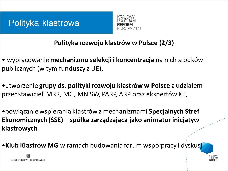 wstęp 01 Polityka klastrowa Polityka rozwoju klastrów w Polsce (2/3) wypracowanie mechanizmu selekcji i koncentracja na nich środków publicznych (w tym funduszy z UE), utworzenie grupy ds.