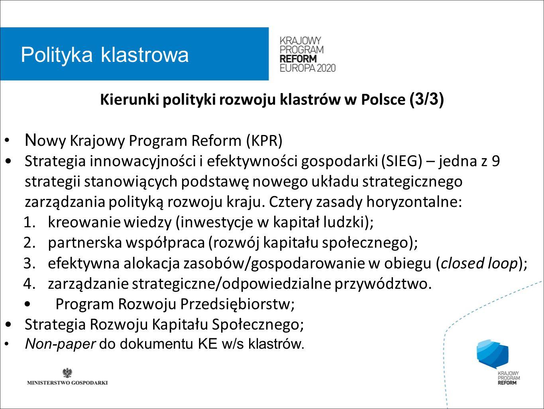 wstęp 01 Polityka klastrowa Kierunki polityki rozwoju klastrów w Polsce (3/3) N owy Krajowy Program Reform (KPR) Strategia innowacyjności i efektywności gospodarki (SIEG) – jedna z 9 strategii stanowiących podstawę nowego układu strategicznego zarządzania polityką rozwoju kraju.