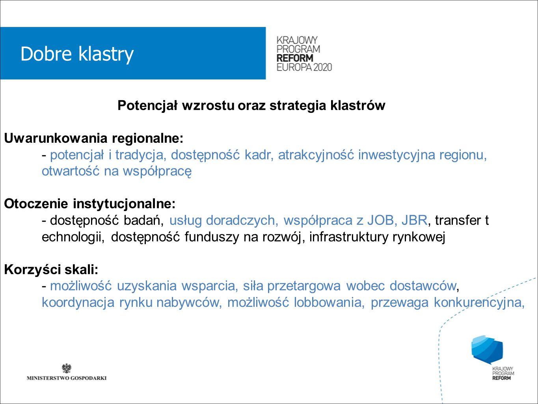 wstęp 01 Dobre klastry Potencjał wzrostu oraz strategia klastrów Uwarunkowania regionalne: - potencjał i tradycja, dostępność kadr, atrakcyjność inwestycyjna regionu, otwartość na współpracę Otoczenie instytucjonalne: - dostępność badań, usług doradczych, współpraca z JOB, JBR, transfer t echnologii, dostępność funduszy na rozwój, infrastruktury rynkowej Korzyści skali: - możliwość uzyskania wsparcia, siła przetargowa wobec dostawców, koordynacja rynku nabywców, możliwość lobbowania, przewaga konkurencyjna,