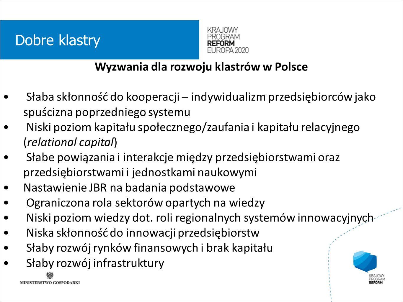 wstęp 01 Dobre klastry Wyzwania dla rozwoju klastrów w Polsce Słaba skłonność do kooperacji – indywidualizm przedsiębiorców jako spuścizna poprzedniego systemu Niski poziom kapitału społecznego/zaufania i kapitału relacyjnego (relational capital) Słabe powiązania i interakcje między przedsiębiorstwami oraz przedsiębiorstwami i jednostkami naukowymi Nastawienie JBR na badania podstawowe Ograniczona rola sektorów opartych na wiedzy Niski poziom wiedzy dot.