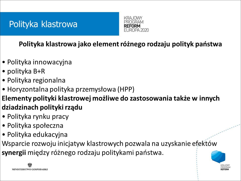 wstęp 01 Polityka klastrowa Polityka klastrowa jako element różnego rodzaju polityk państwa Polityka innowacyjna polityka B+R Polityka regionalna Horyzontalna polityka przemysłowa (HPP) Elementy polityki klastrowej możliwe do zastosowania także w innych dziadzinach polityki rządu Polityka rynku pracy Polityka społeczna Polityka edukacyjna Wsparcie rozwoju inicjatyw klastrowych pozwala na uzyskanie efektów synergii między różnego rodzaju politykami państwa.