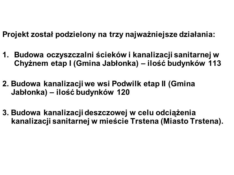 Projekt został podzielony na trzy najważniejsze działania: 1.Budowa oczyszczalni ścieków i kanalizacji sanitarnej w Chyżnem etap I (Gmina Jabłonka) – ilość budynków 113 2.