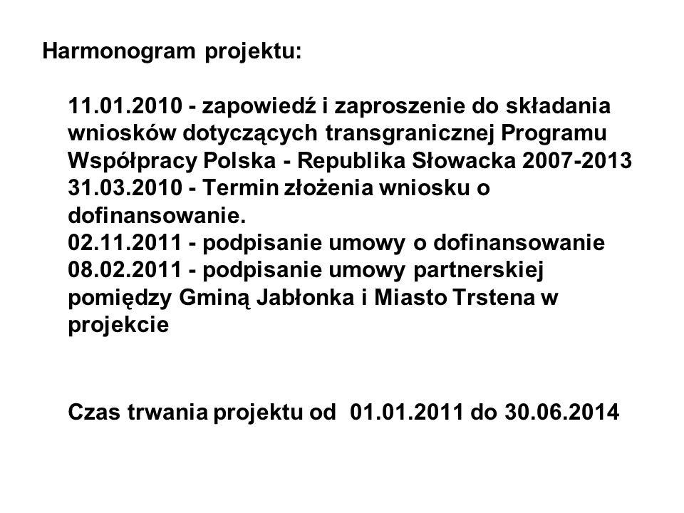 Harmonogram projektu: 11.01.2010 - zapowiedź i zaproszenie do składania wniosków dotyczących transgranicznej Programu Współpracy Polska - Republika Słowacka 2007-2013 31.03.2010 - Termin złożenia wniosku o dofinansowanie.
