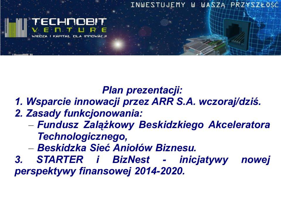 Plan prezentacji: 1. Wsparcie innowacji przez ARR S.A. wczoraj/dziś. 2. Zasady funkcjonowania: – Fundusz Zalążkowy Beskidzkiego Akceleratora Technolog