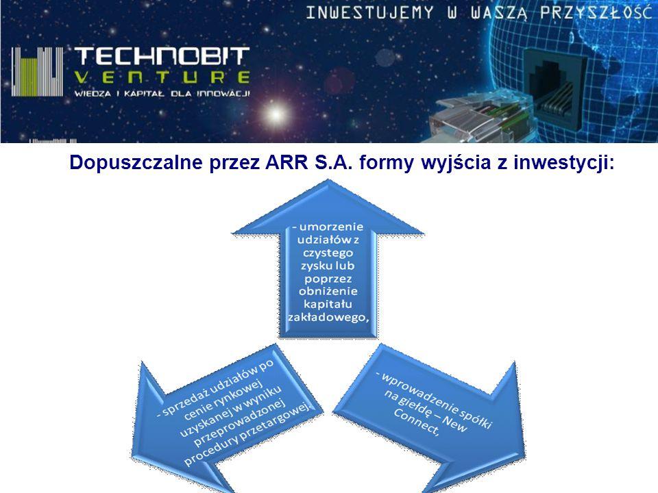 Dopuszczalne przez ARR S.A. formy wyjścia z inwestycji: