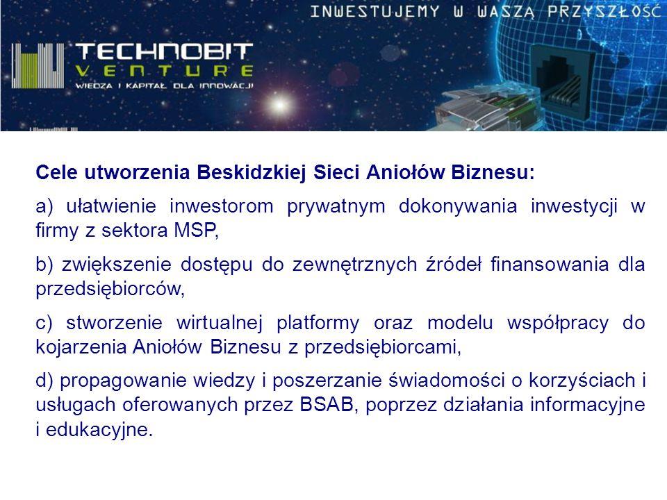 Cele utworzenia Beskidzkiej Sieci Aniołów Biznesu: a) ułatwienie inwestorom prywatnym dokonywania inwestycji w firmy z sektora MSP, b) zwiększenie dos