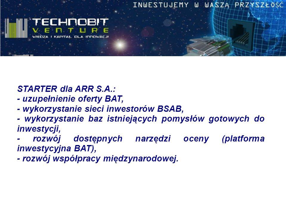STARTER dla ARR S.A.: - uzupełnienie oferty BAT, - wykorzystanie sieci inwestorów BSAB, - wykorzystanie baz istniejących pomysłów gotowych do inwestycji, - rozwój dostępnych narzędzi oceny (platforma inwestycyjna BAT), - rozwój współpracy międzynarodowej.