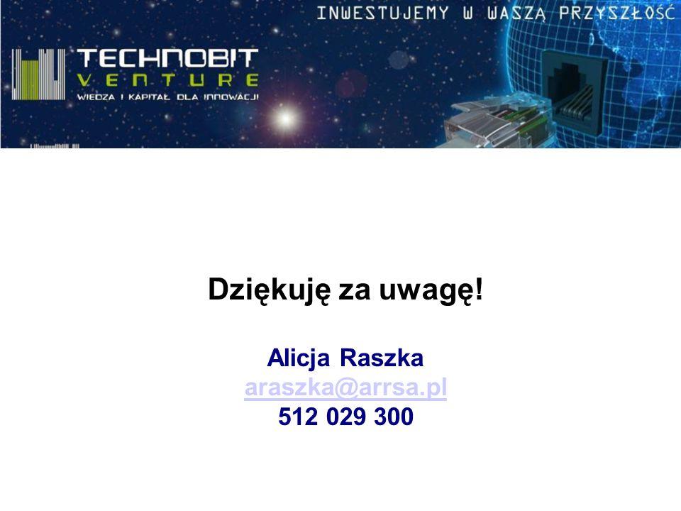 Dziękuję za uwagę! Alicja Raszka araszka@arrsa.pl 512 029 300