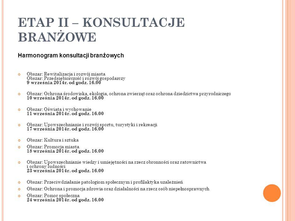 ETAP II – KONSULTACJE BRANŻOWE Harmonogram konsultacji branżowych Obszar: Rewitalizacja i rozwój miasta Obszar: Przedsiębiorczość i rozwój gospodarczy 9 września 2014r.