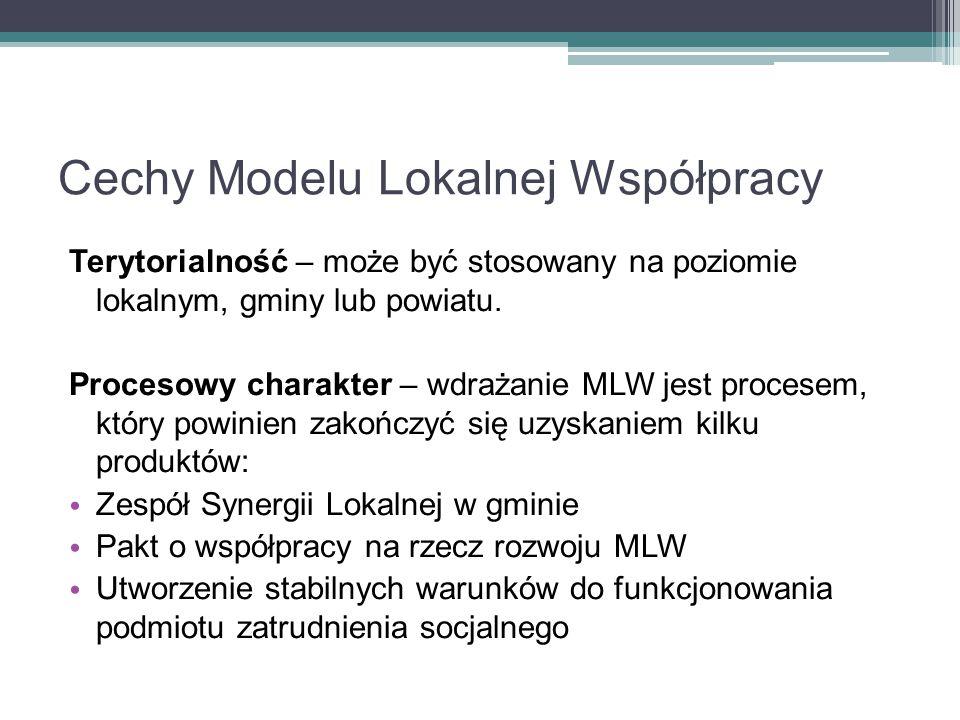 Cechy Modelu Lokalnej Współpracy Terytorialność – może być stosowany na poziomie lokalnym, gminy lub powiatu. Procesowy charakter – wdrażanie MLW jest