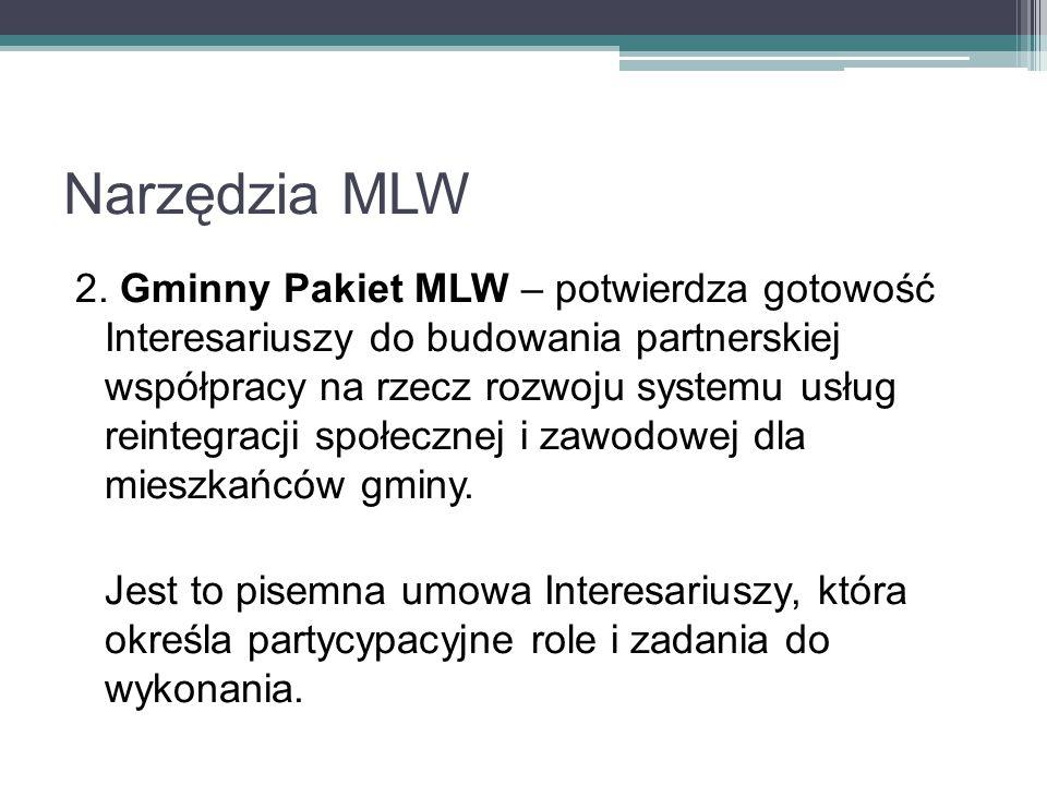 Narzędzia MLW 2. Gminny Pakiet MLW – potwierdza gotowość Interesariuszy do budowania partnerskiej współpracy na rzecz rozwoju systemu usług reintegrac