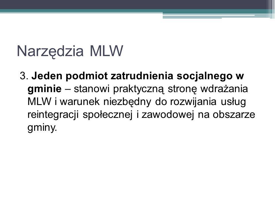 Narzędzia MLW 3. Jeden podmiot zatrudnienia socjalnego w gminie – stanowi praktyczną stronę wdrażania MLW i warunek niezbędny do rozwijania usług rein