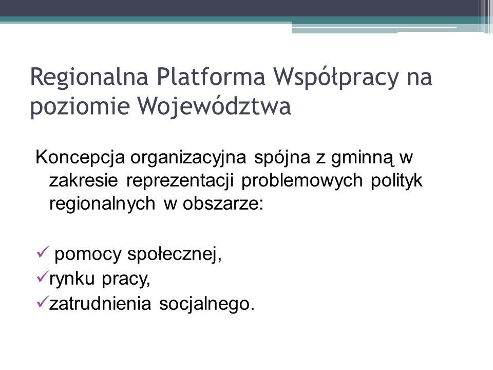 Regionalna Platforma Współpracy na poziomie Województwa Koncepcja organizacyjna spójna z gminną w zakresie reprezentacji problemowych polityk regional