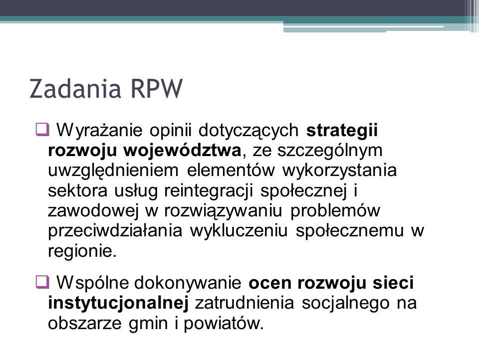 Zadania RPW  Wyrażanie opinii dotyczących strategii rozwoju województwa, ze szczególnym uwzględnieniem elementów wykorzystania sektora usług reintegr