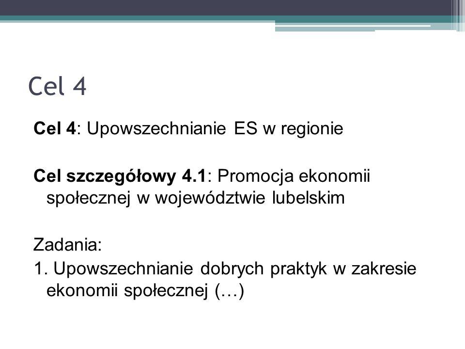 Cel 4 Cel 4: Upowszechnianie ES w regionie Cel szczegółowy 4.1: Promocja ekonomii społecznej w województwie lubelskim Zadania: 1. Upowszechnianie dobr