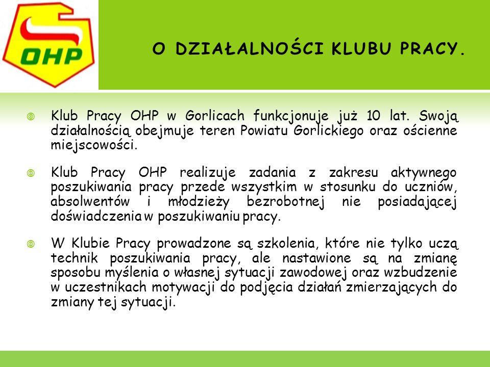 O DZIAŁALNOŚCI KLUBU PRACY.  Klub Pracy OHP w Gorlicach funkcjonuje już 10 lat. Swoją działalnością obejmuje teren Powiatu Gorlickiego oraz ościenne