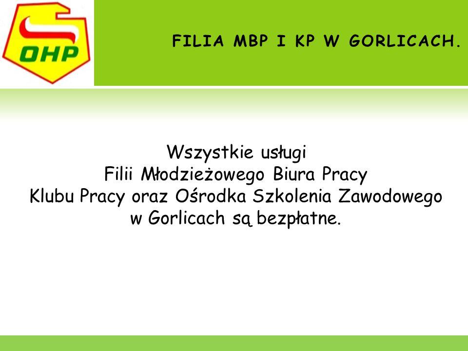 FILIA MBP I KP W GORLICACH. Wszystkie usługi Filii Młodzieżowego Biura Pracy Klubu Pracy oraz Ośrodka Szkolenia Zawodowego w Gorlicach są bezpłatne.