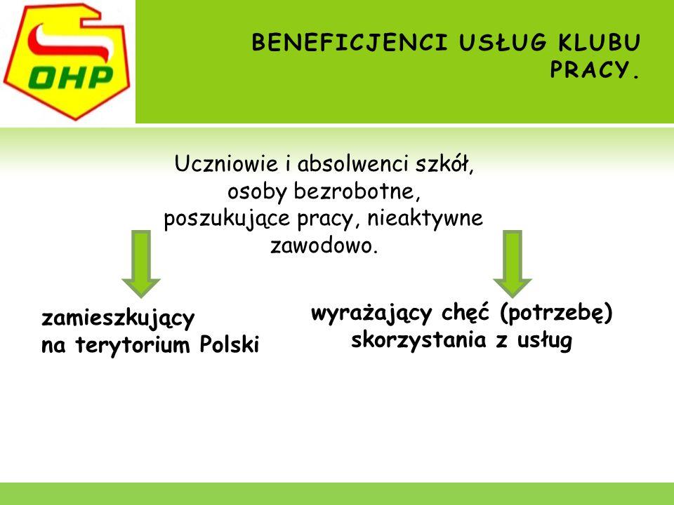 BENEFICJENCI USŁUG KLUBU PRACY. zamieszkujący na terytorium Polski wyrażający chęć (potrzebę) skorzystania z usług Uczniowie i absolwenci szkół, osoby