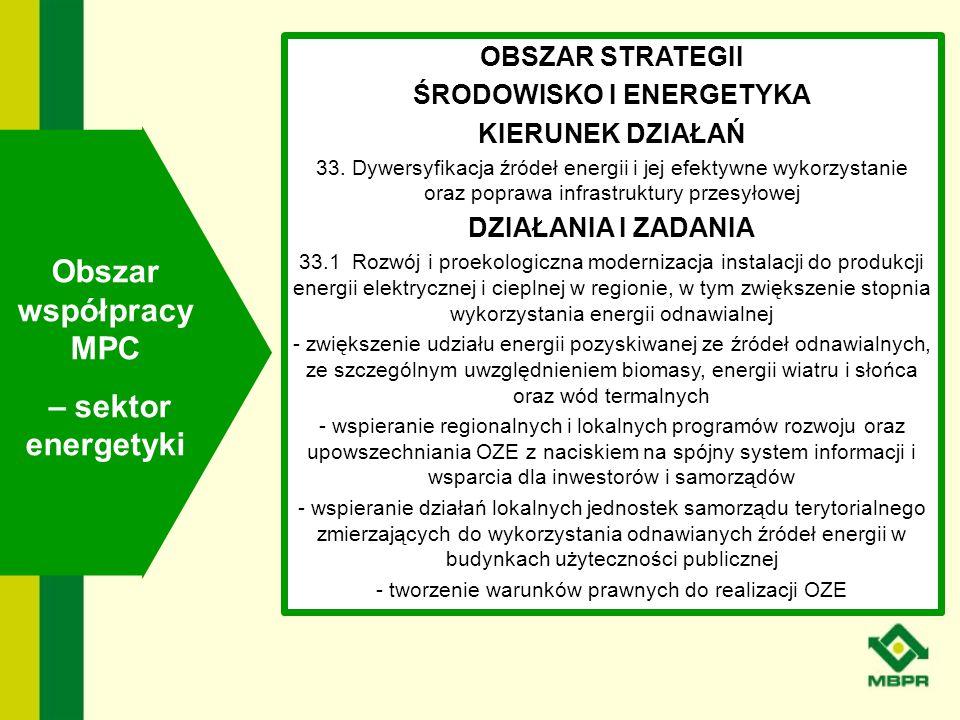 OBSZAR STRATEGII ŚRODOWISKO I ENERGETYKA KIERUNEK DZIAŁAŃ 33. Dywersyfikacja źródeł energii i jej efektywne wykorzystanie oraz poprawa infrastruktury