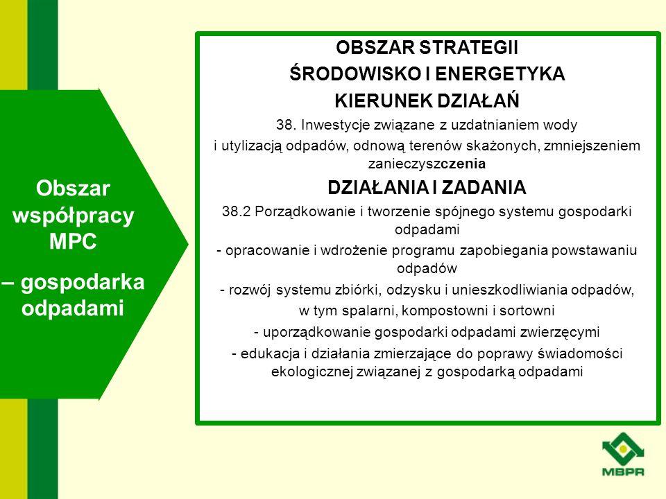 OBSZAR STRATEGII ŚRODOWISKO I ENERGETYKA KIERUNEK DZIAŁAŃ 38. Inwestycje związane z uzdatnianiem wody i utylizacją odpadów, odnową terenów skażonych,