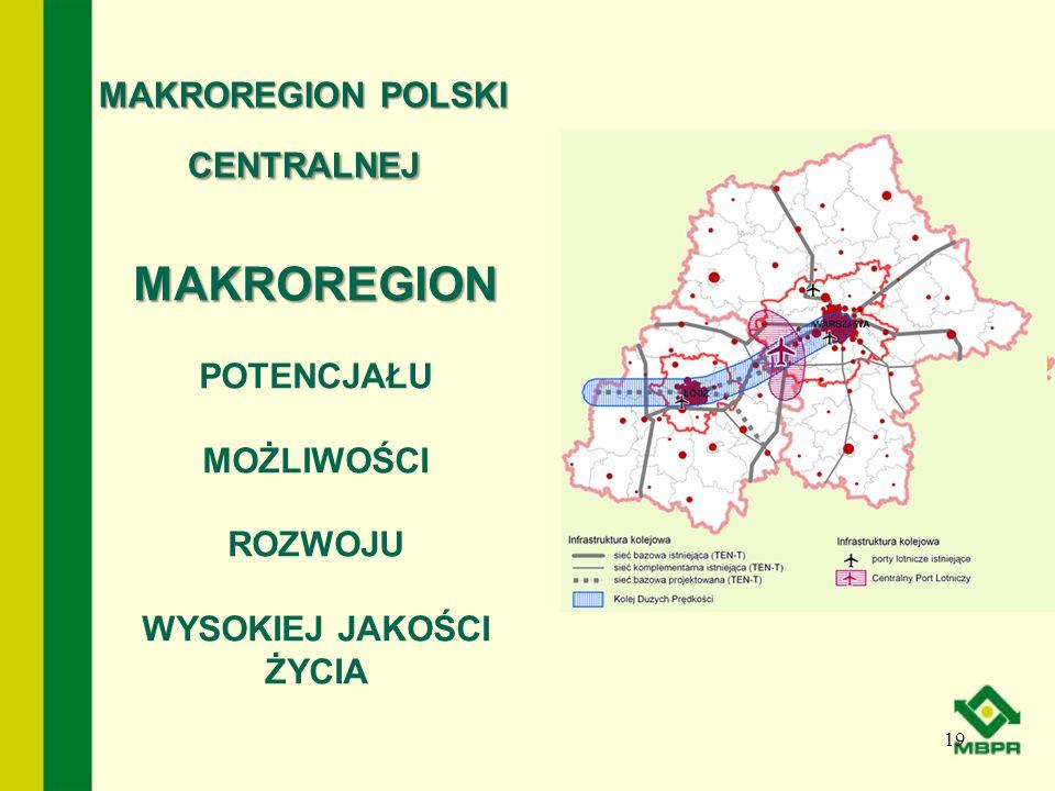 MAKROREGION POLSKI CENTRALNEJ 19 MAKROREGION POTENCJAŁU MOŻLIWOŚCI ROZWOJU WYSOKIEJ JAKOŚCI ŻYCIA