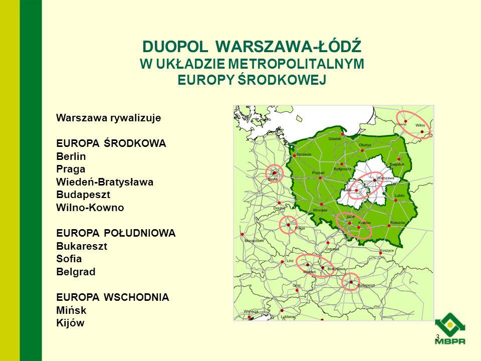 DUOPOL WARSZAWA-ŁÓDŹ W UKŁADZIE METROPOLITALNYM EUROPY ŚRODKOWEJ 3 Warszawa rywalizuje EUROPA ŚRODKOWA Berlin Praga Wiedeń-Bratysława Budapeszt Wilno-