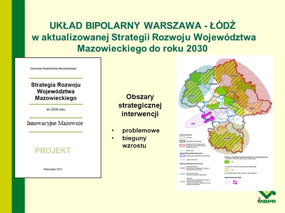 UKŁAD BIPOLARNY WARSZAWA - ŁÓDŹ w aktualizowanej Strategii Rozwoju Województwa Mazowieckiego do roku 2030 8 Obszary strategicznej interwencji problemo