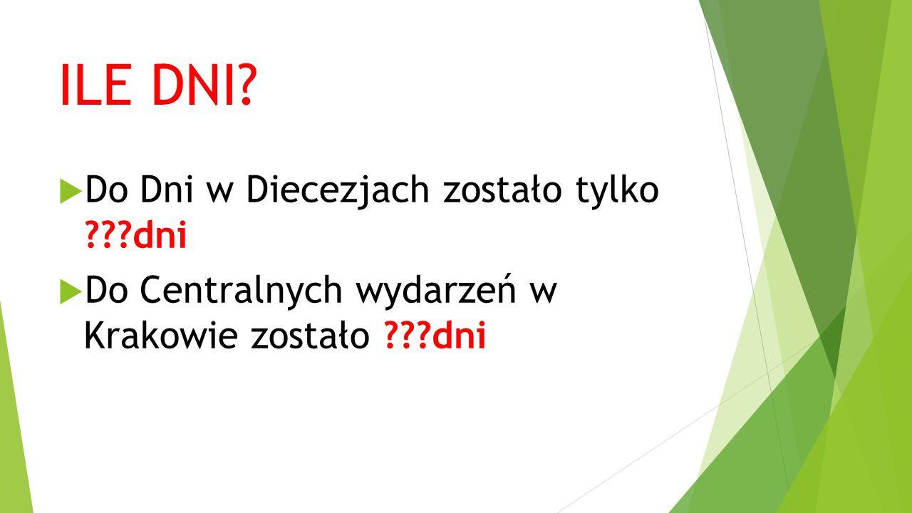 ILE DNI?  Do Dni w Diecezjach zostało tylko ???dni  Do Centralnych wydarzeń w Krakowie zostało ???dni
