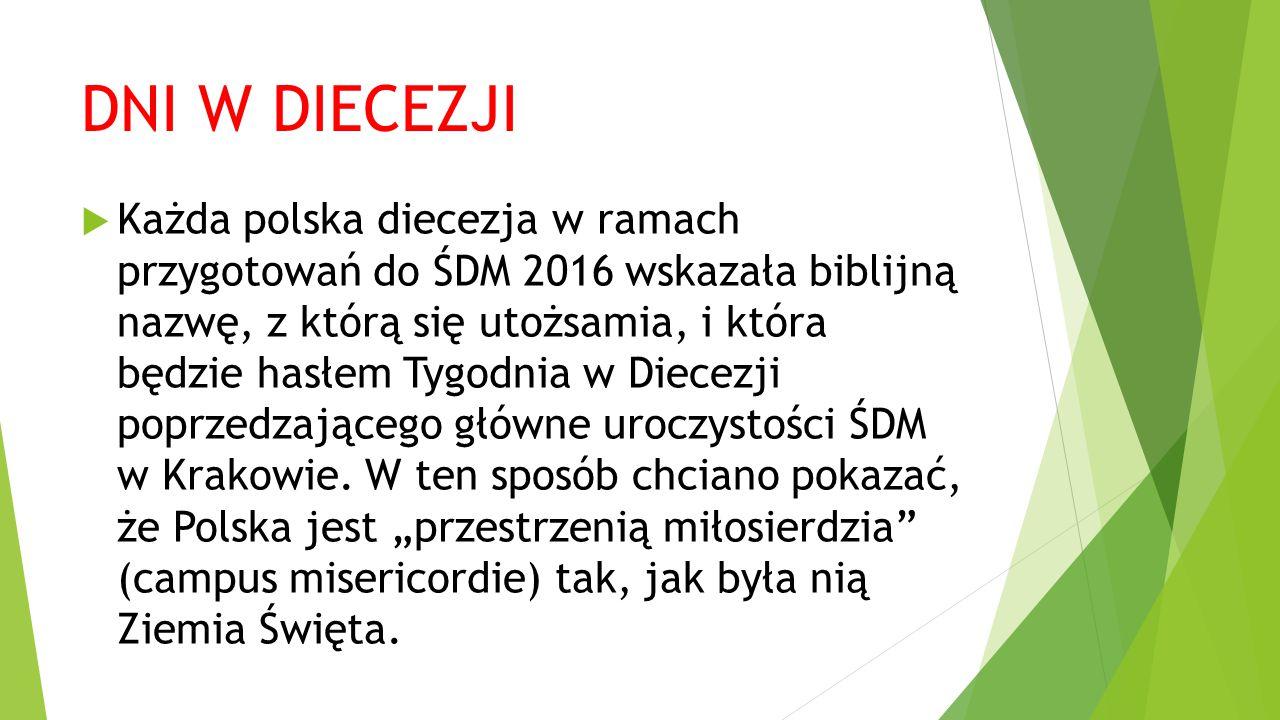 DNI W DIECEZJI  Każda polska diecezja w ramach przygotowań do ŚDM 2016 wskazała biblijną nazwę, z którą się utożsamia, i która będzie hasłem Tygodnia