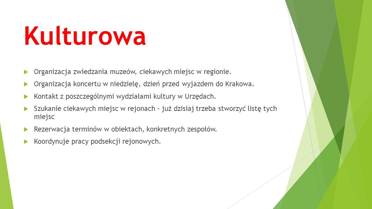Kulturowa  Organizacja zwiedzania muzeów, ciekawych miejsc w regionie.  Organizacja koncertu w niedzielę, dzień przed wyjazdem do Krakowa.  Kontakt