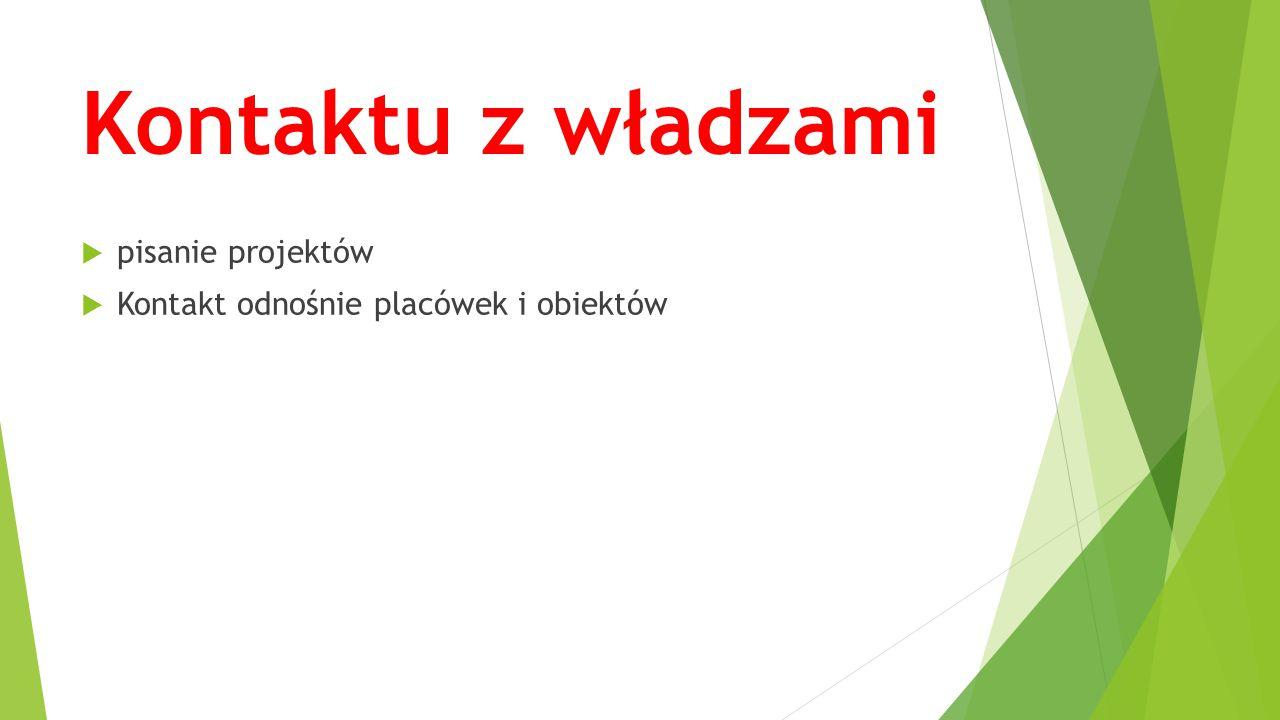 Kontaktu z władzami  pisanie projektów  Kontakt odnośnie placówek i obiektów