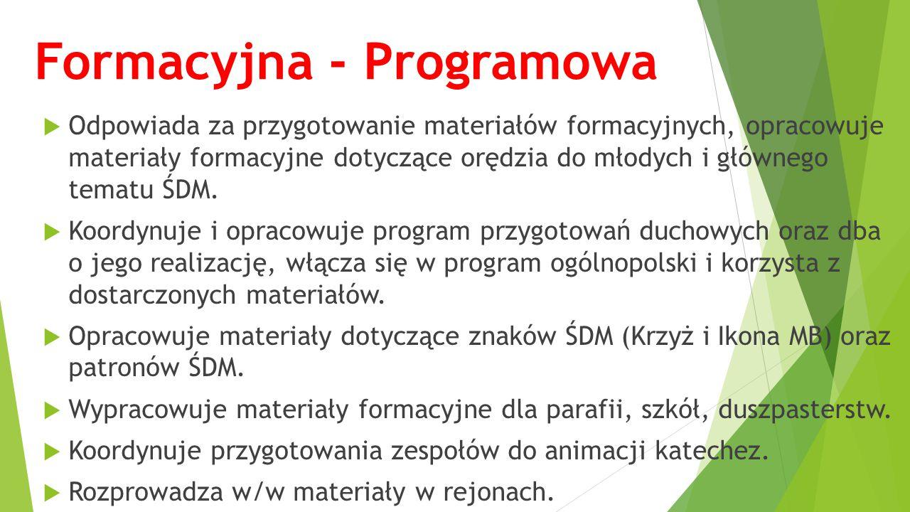 Formacyjna - Programowa  Odpowiada za przygotowanie materiałów formacyjnych, opracowuje materiały formacyjne dotyczące orędzia do młodych i głównego