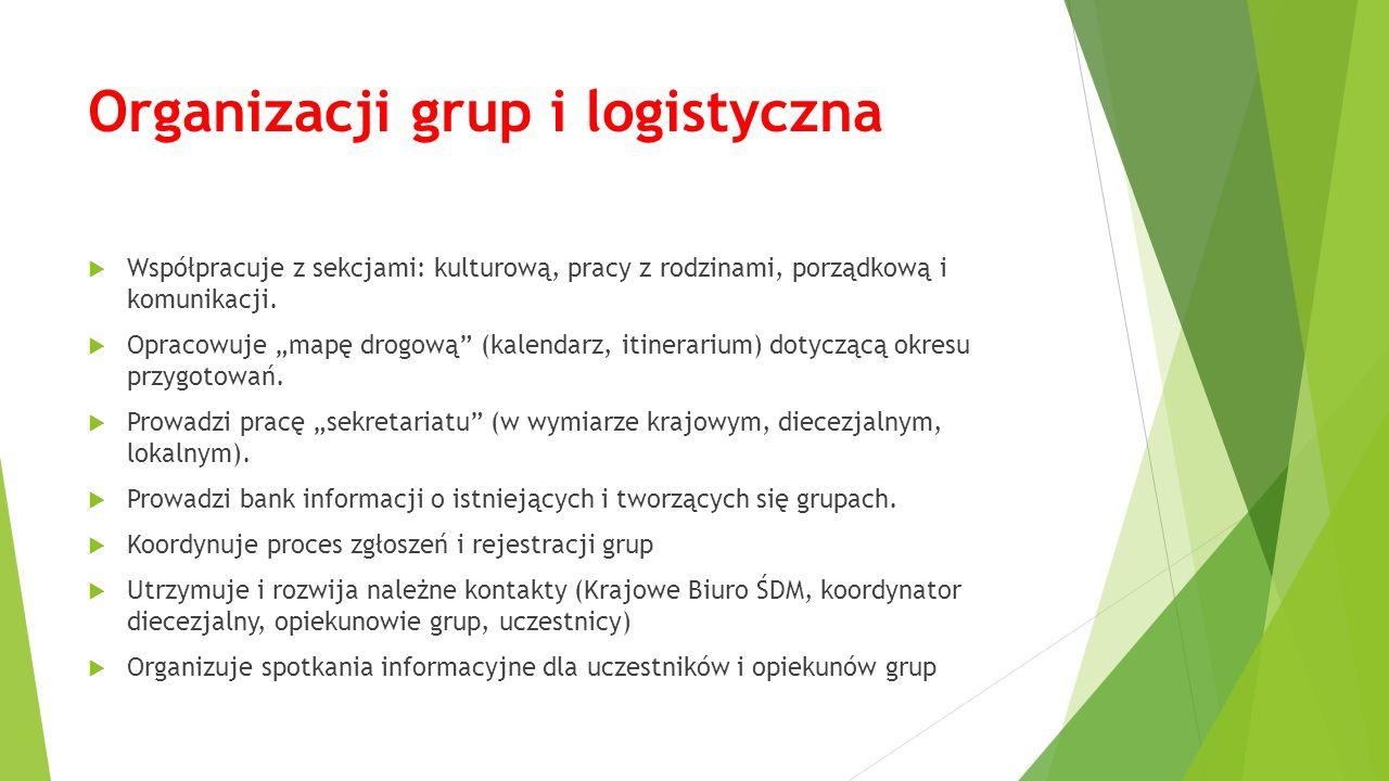 """Organizacji grup i logistyczna  Współpracuje z sekcjami: kulturową, pracy z rodzinami, porządkową i komunikacji.  Opracowuje """"mapę drogową"""" (kalenda"""
