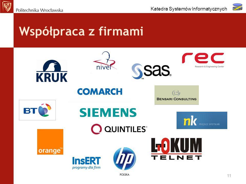Współpraca z firmami 11 Katedra Systemów Informatycznych