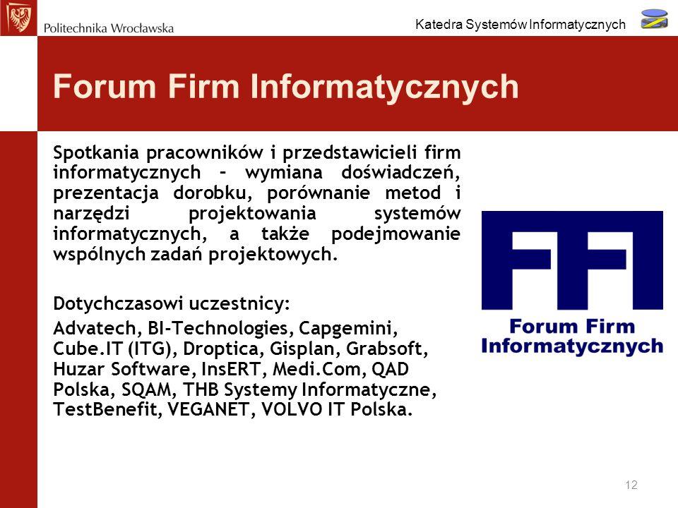 Forum Firm Informatycznych 12 Spotkania pracowników i przedstawicieli firm informatycznych – wymiana doświadczeń, prezentacja dorobku, porównanie meto