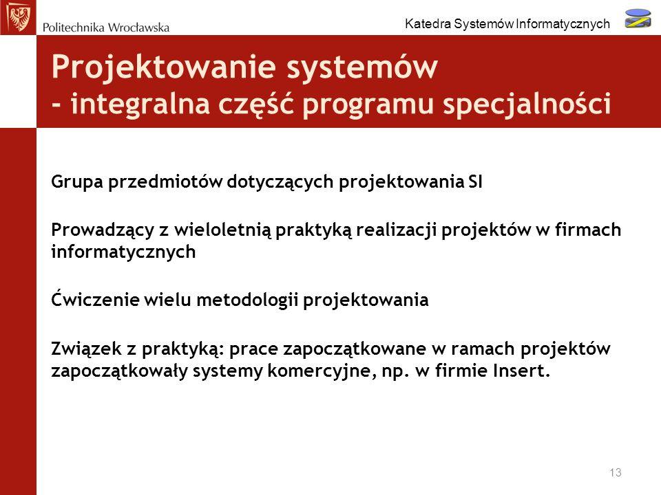 Projektowanie systemów - integralna część programu specjalności Grupa przedmiotów dotyczących projektowania SI Prowadzący z wieloletnią praktyką reali