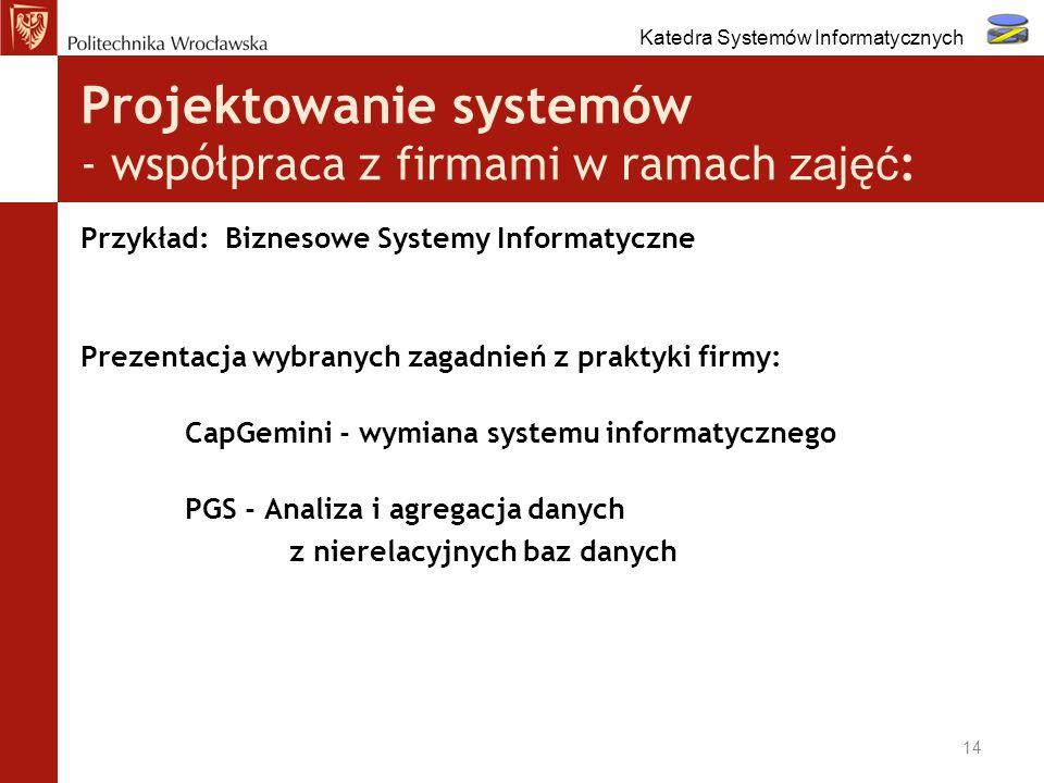 Projektowanie systemów - współpraca z firmami w ramach zajęć : Przykład: Biznesowe Systemy Informatyczne Prezentacja wybranych zagadnień z praktyki fi