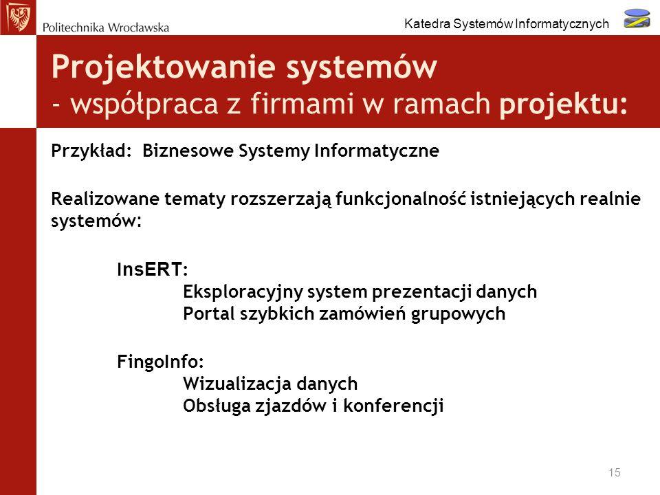 Projektowanie systemów - współpraca z firmami w ramach projektu: Przykład: Biznesowe Systemy Informatyczne Realizowane tematy rozszerzają funkcjonalno
