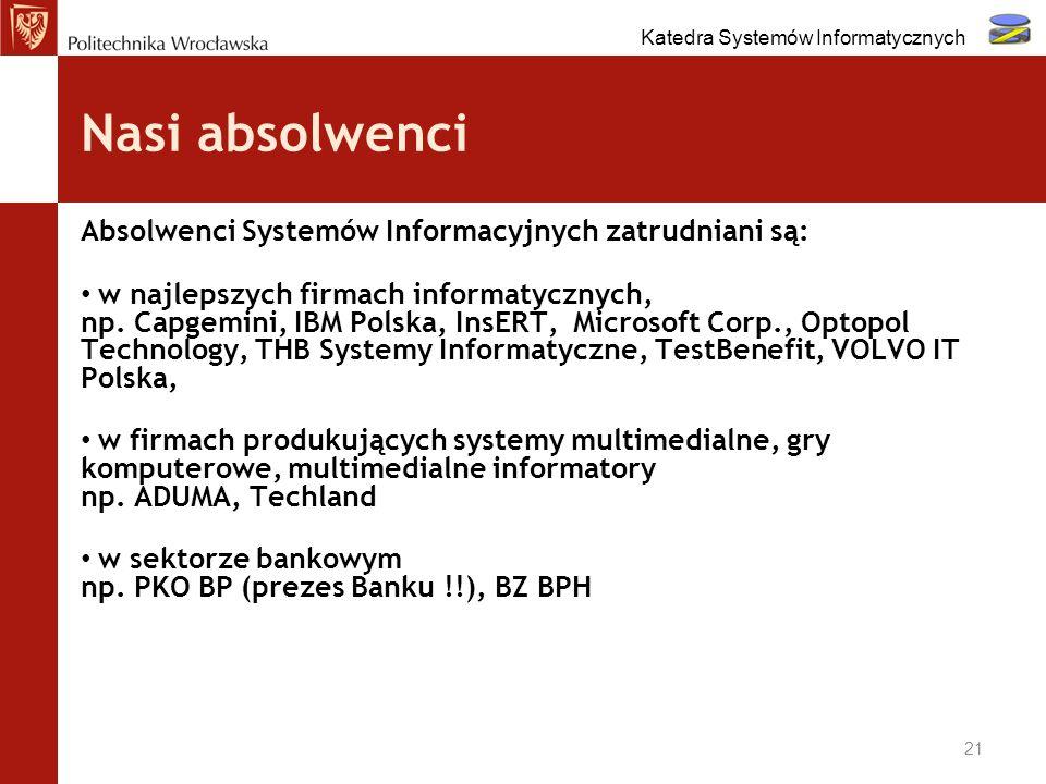 Nasi absolwenci Absolwenci Systemów Informacyjnych zatrudniani są: w najlepszych firmach informatycznych, np. Capgemini, IBM Polska, InsERT, Microsoft