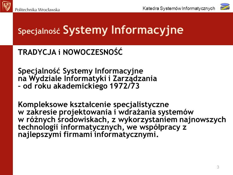 Projektowanie systemów - współpraca z firmami w ramach zajęć : Przykład: Biznesowe Systemy Informatyczne Prezentacja wybranych zagadnień z praktyki firmy: CapGemini - wymiana systemu informatycznego PGS - Analiza i agregacja danych z nierelacyjnych baz danych 14 Katedra Systemów Informatycznych