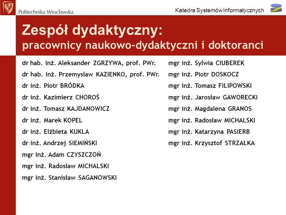 Zespół dydaktyczny: p racownicy naukowo-dydaktyczni i doktoranci dr hab. inż. Aleksander ZGRZYWA, prof. PWr. dr hab. inż. Przemysław KAZIENKO, prof. P