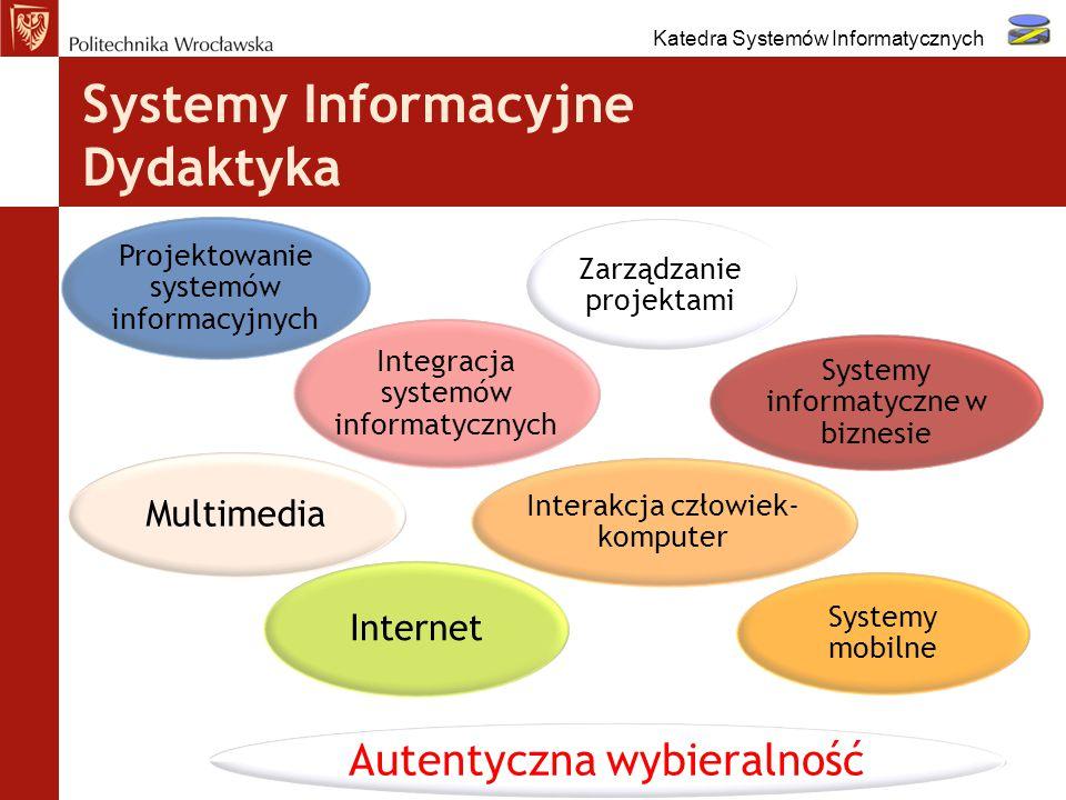 Systemy Informacyjne Dydaktyka 7 Przedmiot wybieralny IPrzedmiot wybieralny II Projektowanie i zarządzanie systemami informacyjnymi Biznesowe systemy informatyczne Mobilne systemy informacyjneSeminarium dyplomowe Integracja systemów informacyjnych Praca dyplomowa Interaktywne systemy multimedialne Praca dyplomowa Katedra Systemów Informatycznych