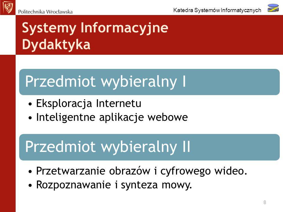 Systemy Informacyjne Dydaktyka 8 Przedmiot wybieralny I Eksploracja Internetu Inteligentne aplikacje webowe Przedmiot wybieralny II Przetwarzanie obra