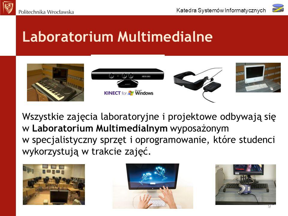 Laboratorium Multimedialne Wszystkie zajęcia laboratoryjne i projektowe odbywają się w Laboratorium Multimedialnym wyposażonym w specjalistyczny sprzę