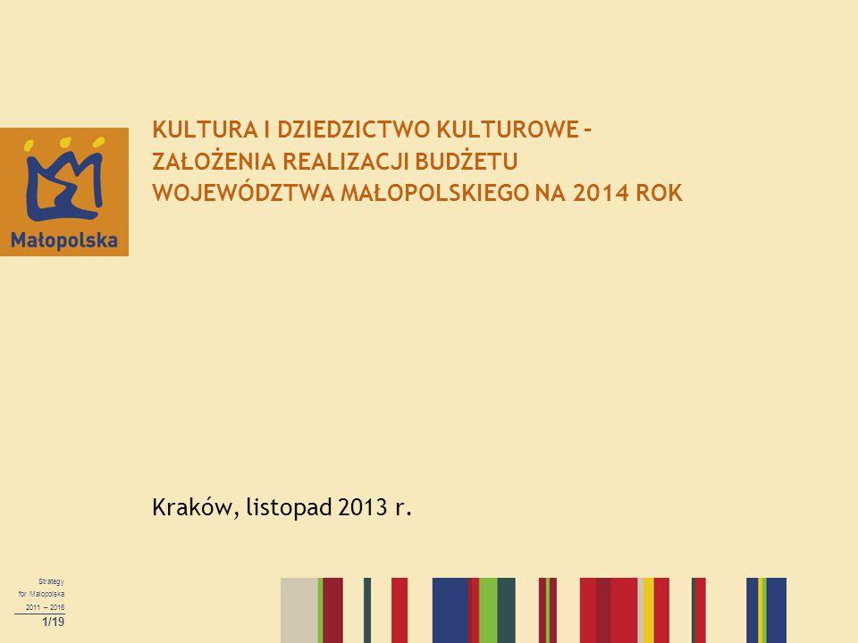 Strategy for Malopolska 2011 – 2016 1/19 KULTURA I DZIEDZICTWO KULTUROWE – ZAŁOŻENIA REALIZACJI BUDŻETU WOJEWÓDZTWA MAŁOPOLSKIEGO NA 2014 ROK Kraków, listopad 2013 r.