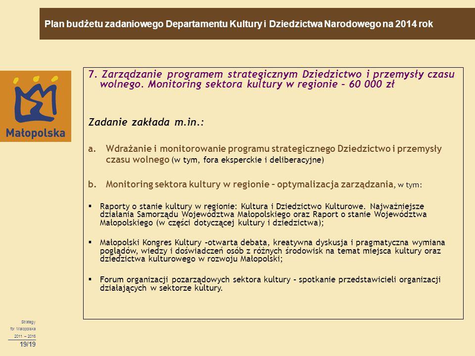 19/19 7. Zarządzanie programem strategicznym Dziedzictwo i przemysły czasu wolnego.