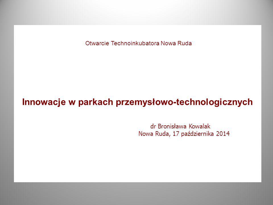 Innowacje w parkach przemysłowo-technologicznych dr Bronisława Kowalak Nowa Ruda, 17 października 2014 Otwarcie Technoinkubatora Nowa Ruda