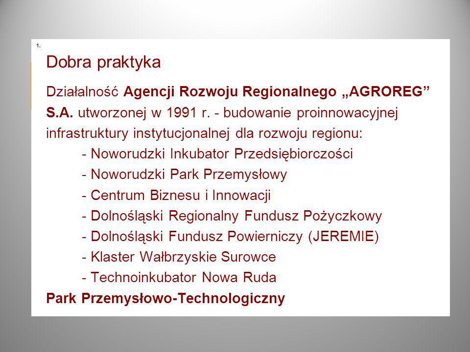 """1. Dobra praktyka Działalność Agencji Rozwoju Regionalnego """"AGROREG S.A."""
